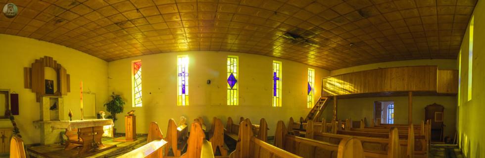 Opuszczona kaplica w ośrodku opieki społecznej, panorama